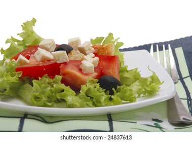 salad with tomato, cheese, olive