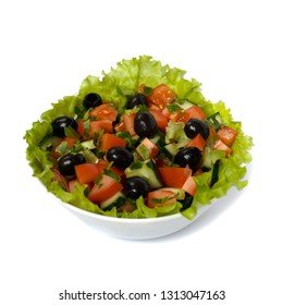 salad of tomatoes, cucumbers and olives on a white background