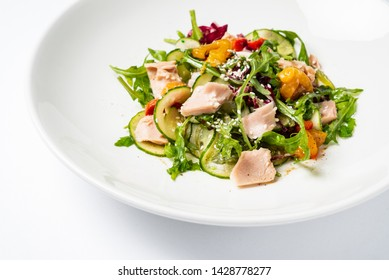 salad with tuna on the white plate