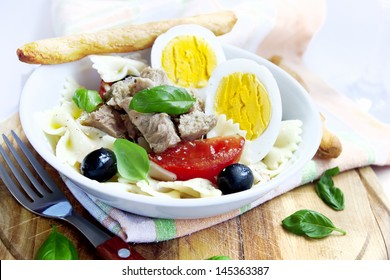 Salad with tuna,tomatoes and boiled eggs