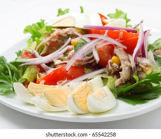 salad with vegetable and egg .on white background