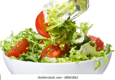 salad with vegetable on white background