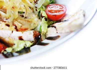 salad of vegetables and meat on dish