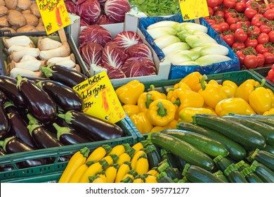 Salad and vegetables for sale at a market