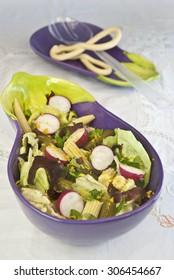 salad watercress, corn, lettuce and pickles, vegetables diet, vegetarian food, vegan food,  food light