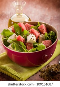 salad with water-melon, arugula feta cheese and fennel seed
