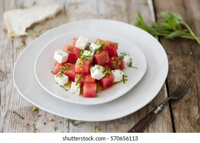 Salad with Watermelon, Feta Cheese, Mint and Pistachios