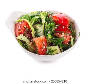 Salad in white bowl isolated on white background (with clipping path)