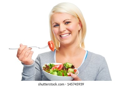 salad woman diet healthy eating happy and slim