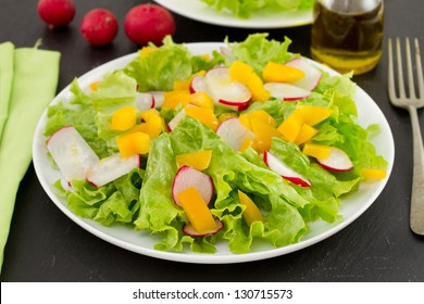 salad with yellow pepper on the plate