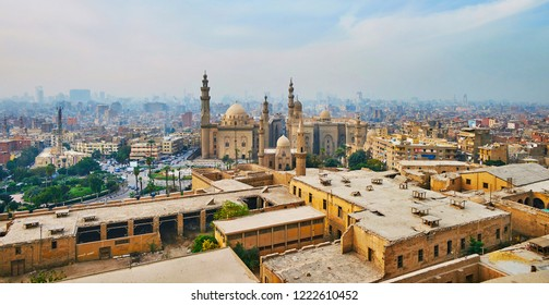 The Saladin Citadel boasts panoramic viewpoint, overlooking old Cairo with its great landmarks, such as Al Rifai and Sultan Hassan Mosques, Egypt.