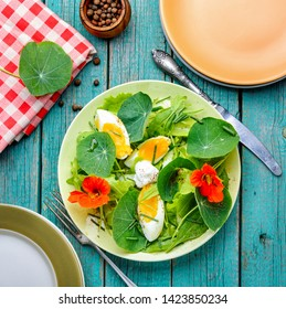 Salads from flowers and leaves of nasturtium with egg.Diet food.Colored salad