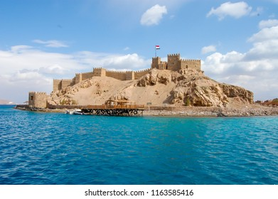 Salah El Din Castle on Farun island in the Gulf of Aqaba,Red Sea,Taba,Egypt, sunny