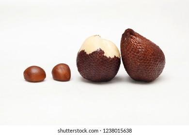 Salak fruit ( Salacca zalacca) with seeds isolated on white background