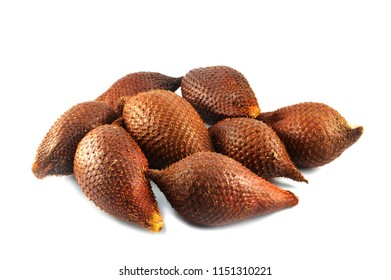 salak fruits isolated / ripe of salak tropical fruit of snake isolated on white background - Salacca or zalacca tropical fruit