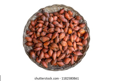 Salak group of fruit in basket isolated on white background, Salak is a species of palm tree native to Java and Sumatra in Indonesia.