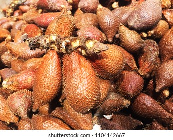 Salak, also known as salacca zalacca and snake fruit, has unique small and taste in sweet and sour. tropical Salak fruit in full frame.