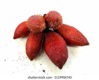 Salak, Salacca fruit,red fruit on cream wooden background.