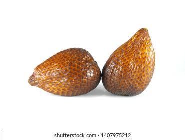 Salak or snake fruit isolated on white background, tropical fruit.