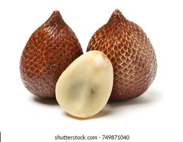 Salak or snake fruit on white background