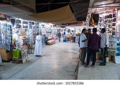 Salalah, Dhofar / Sultanat of Oman - 01-24-2018: View of Al Husn or Haffa Souk  in Salalah. This souk is the biggest frankincense souk in southern Oman.