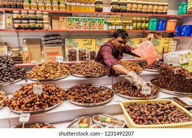 SALALAH, OMAN - FEBRUARY 24, 2017: Date stall at the Souq in Salalah.