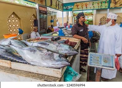 SALALAH, OMAN - FEBRUARY 26, 2017: Fish section at the Souq in Salalah.