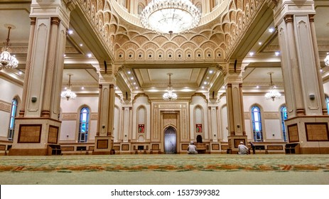 SALALAH, OMAN - JUNE 23, 2018: The beautiful interior of Sultan Qaboos Grand Mosque in Salalah, Oman.