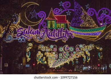 "Salam Aidilfitri - Translation: ""Hari Raya"" Greetings. This light installation is part of the Singapore Hari Raya market. Picture was taken on 26th May 2018."