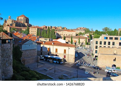 SALAMANCA, CASTILE AND LEON/SPAIN, JUNE, 15, 2019: view of entrance streets to Salamanca and San Esteban church on the left