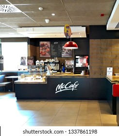 SALAMANCA, CASTILE AND LEON/SPAIN, March 13, 2019: cafeteria area in a Mcdonald's restaurant.