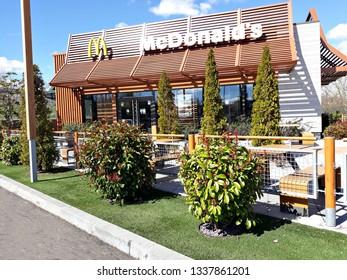 SALAMANCA, CASTILE AND LEON/SPAIN, March 13, 2019: facade of the Macdonalds fast food restaurant. Hamburger concept.