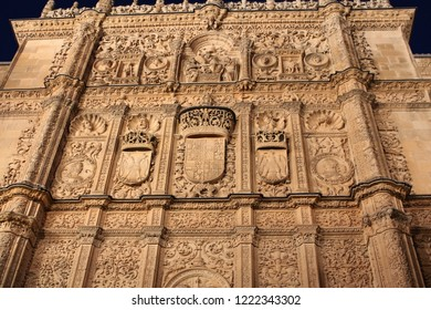 SALAMANCA, CASTILE AND LEON/SPAIN - NOVEMBER, 03, 2018: stone façade of the University of Salamanca dating from 1529 and plateresque style