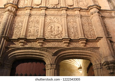 SALAMANCA, CASTILE AND LEON/SPAIN - NOVEMBER, 03, 2018: detail of the façade of the University of Salamanca dating from 1529 and plateresque style