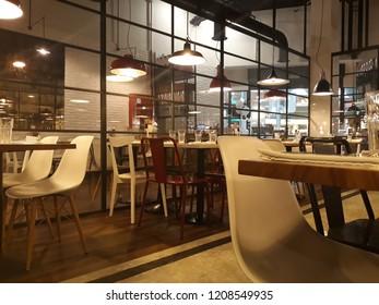 SALAMANCA, CASTILE AND LEON/SPAIN - OCTOBER,18, 2018: Interior of a modern urban restaurant, called in Spanish Ginos