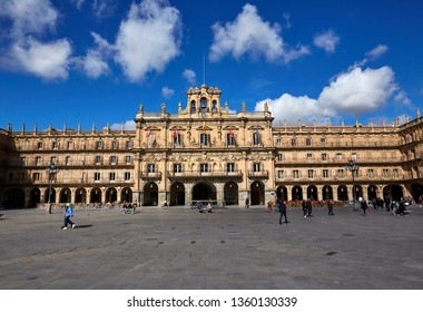 SALAMANCA, CASTILLA Y LEON, SPAIN; MARCH 9TH 2019; The Plaza Mayor classical architecture of Salamanca in Spain