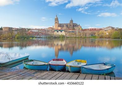 Salamanca - The Cathedral and bridge Puente Enrique Estevan Avda and the Rio Tormes river.