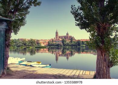 Salamanca Cathedral  at morning view from the Tormes River, Salamanca City, Spain, Europe.