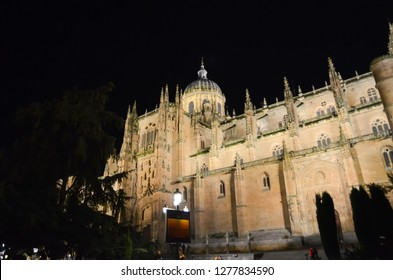 Salamanca Cathedral in the night, Salamanca, Spain