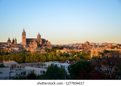 Salamanca Cathedral on which the evening sun shines, Salamanca, Spain