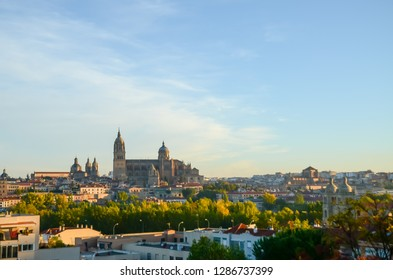 Salamanca Cathedral on which the morning sun shines, Salamanca, Spain