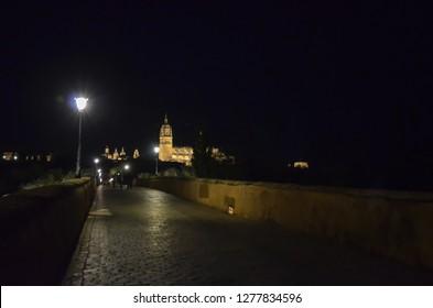Salamanca Cathedral and Roman Bridge in the night, Salamanca, Spain