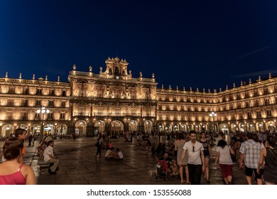SALAMANCA - JUL 5: Plaza mayor of Salamanca lit up at night,on July 5, 2013 in Salamanca, Spain. This square and its terraces are one of the main tourist attractions of the city.