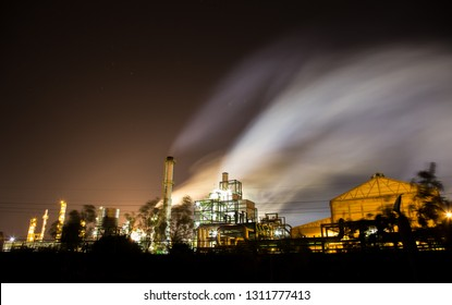 Salamanca, Mexico; 01/23/2018: Night image of the oil refinery located in Salamanca