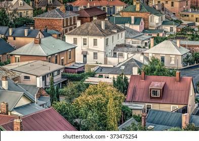 Salamanca rooftops, Hobart, Tasmania, Australia. Salamanca Place is a precinct of Hobart, the capital city of the state of Tasmania.