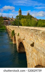 Salamanca skyline and roman bridge over Tormes river in Spain