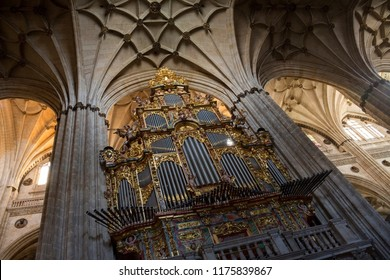Salamanca. Spain. 07.14.12. The organ in the Cathedral of Salamanca in the Castila-y-Leon region of central Spain.