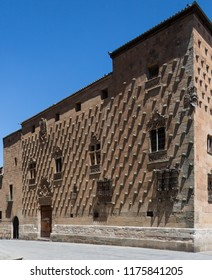 Salamanca. Spain. 07.15.12. Casa de la Conchas (House of Shells) near the Universidad in the city of Salamanca in the Castila-y-Leon region of Spain. Built in the 16th century, it is now a library.