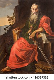 SALAMANCA, SPAIN, APRIL - 16, 2016: The St. Paul painting in Convento de San Esteban by unknown artist of 17. cent.