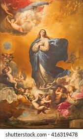 SALAMANCA, SPAIN, APRIL - 17, 2016: The Immaculate conception of Virgin Mary painting on the altar of Convento de las Agustinas and Iglesia de la Purisima church by Jose de Ribera 1635.